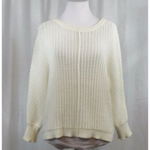 Athleta White Loose Knit Cotton Blend Sweater XS
